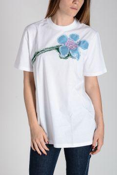 Cotton T-Shirt with Embroidered Faille Flower