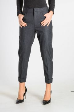 Virgin Wool Blend Capri Trouser