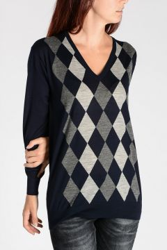 Argyle Intarsia Virgin Wool Sweater