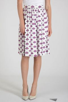 Cotton blend KISS Print Skirt