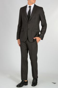 Single Breasted Damier Wool Suit