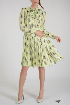 Pleated Silk Robots Dress