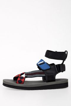 Leather and Fabric Sandal