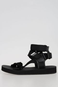 Fabric and Leather Sandal
