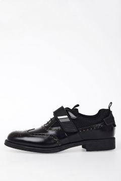 Leather Oxford shoes With Fabric Details