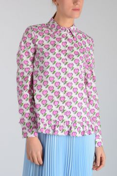 Cotton Blend Heart Printed Blouse