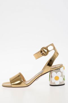 6,5cm Gold Tone Leather Sandals