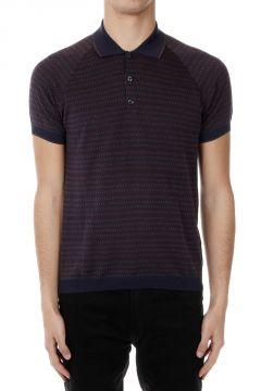 Geometric Patterned Cotton Polo Shirt