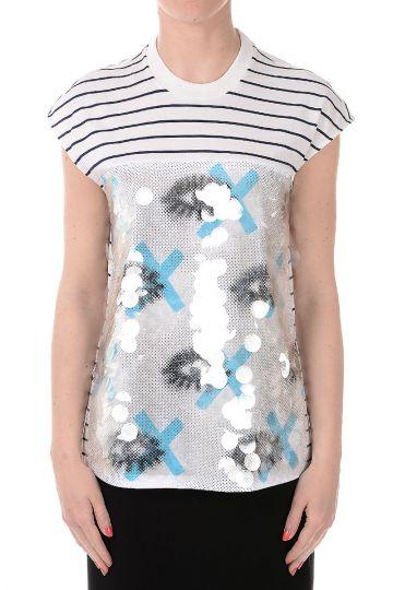 T-shirt senza Maniche Ricamato