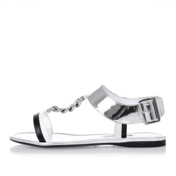 Silver Tone Sandals with chain