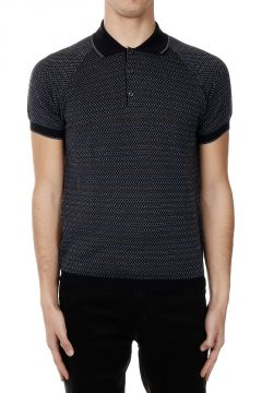Geometric Patterned Cotton Polo Shirt