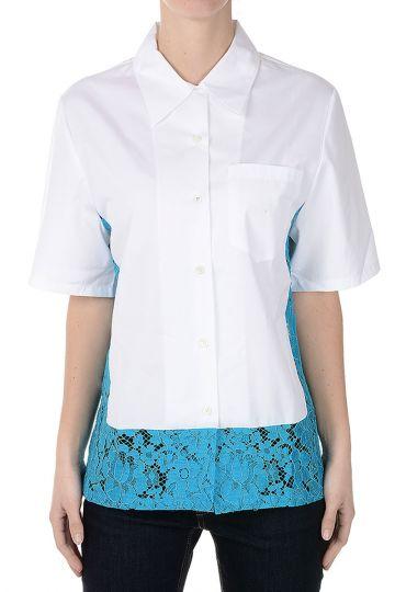 Camicia A Manica Corta in Popeline di Cotone
