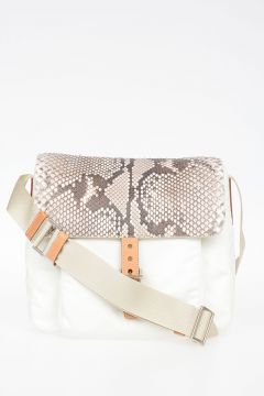 Nylon Bag with Python Front Flap