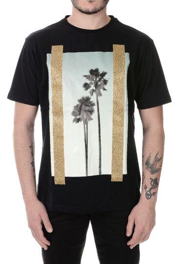 T-Shirt Stampata in Cotone con Dettaglio Glitter