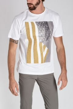 Glittered FLAG Printed T-shirt