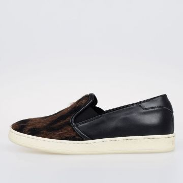 Sneakers BARONETTO SLIP ON in Pelle e Pelliccia Leopardata