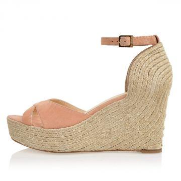 14 cm wedge suede sandals
