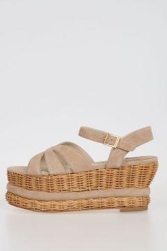 Sandali in Pelle Scamosciata e Vimini