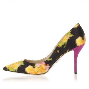 SAMIRA Suede and Silk Decollete Heel 9.5 cm