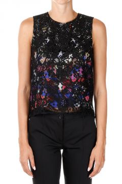 Abstracted Pattern top with Lace