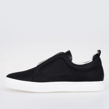 Leather and Rubber Banded Slip on Sneakers
