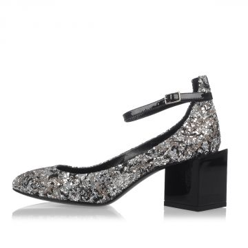 Glitter Fabric & Leather Pumps Heel 6 cm