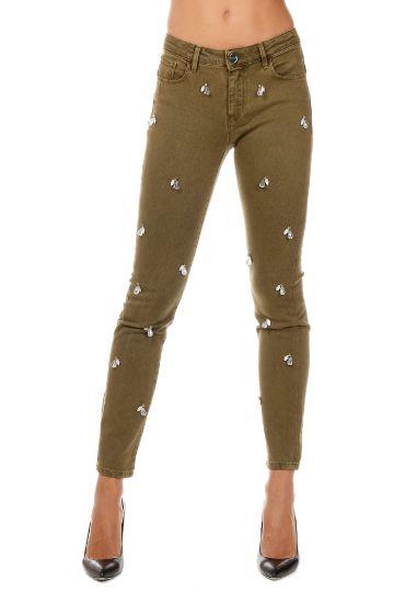 Pantalone FUJICO Iperskinny con Dettagli in strass
