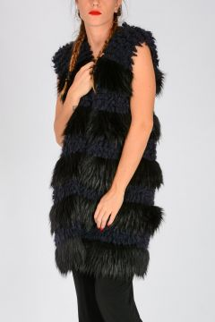 Wool Blend & Faux Fur ALLBORG GILET Sleeveless Coat