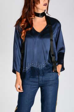 Silk Studded Lade Details BARATTARE top