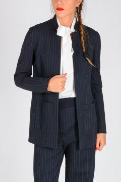 Pinstriped DISCORRERE Blazer with Embellished Tie