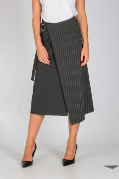 Pinstriped DONARE1 Wrap Skirt