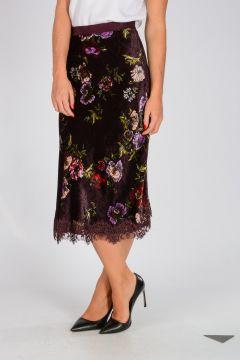Floral Pattern Velvet TOYSTORY1 Skirt