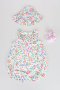 Romper Suit, Hat and Teddy Bear Set
