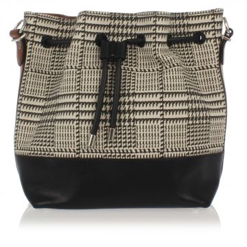 Medium Bucket Bag with Houndstooth Print