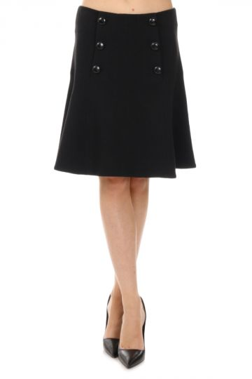 Mixed Wool Flared Skirt