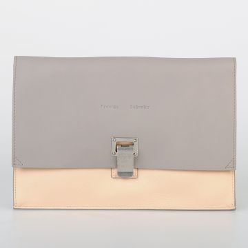 Bicolor Leather SMALL LUNCH Clutch Bag