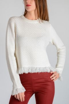 Wool Blend Fringed Sweater