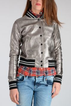 Cotton Blend Silver Bomber Jacket