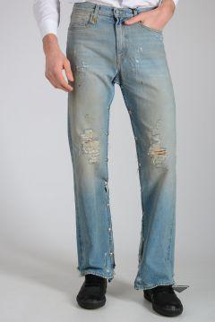 21cm Stretch Denim Snap Slouch Jeans