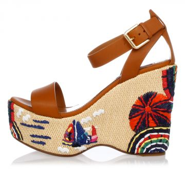 Leather Embroidery Wedge