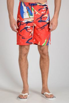 X Printed Boats Swimsuit