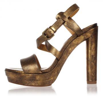 ESTRID II OLD GOLD Leather Peep-Toe Pumps Heel 13 cm