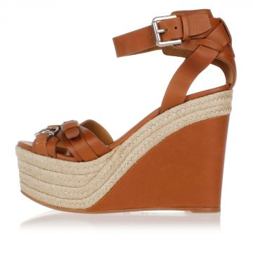 Leather FINOLA Sandals Wedge 13 cm