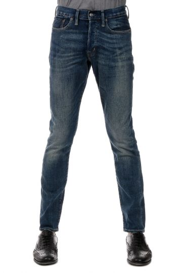 Jeans Low Skinny Fit in Denim Lavaggio Scuro 18 cm