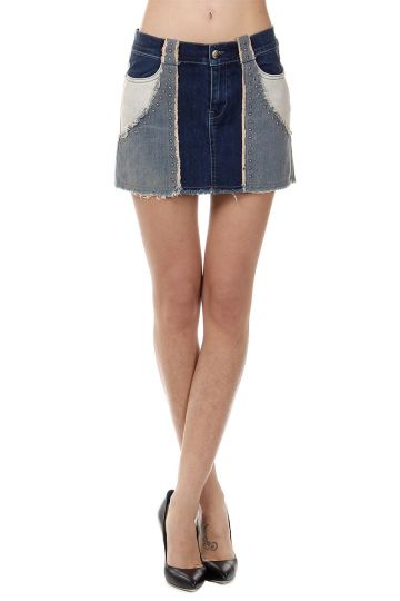 Mini Gonna in Denim Patchwork con Borchie