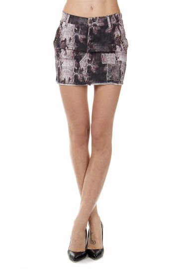 Reptile Printed Stretch Cotton Mini Skirt
