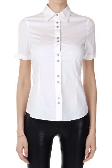 Camicia in Cotone Stretch con Logo di Strass