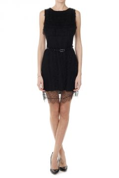 Silk and Lace Dress with Belt