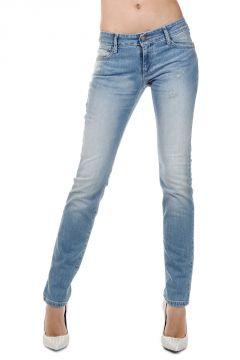 Jeans in Denim Stretch Effetto Vintage 14 cm