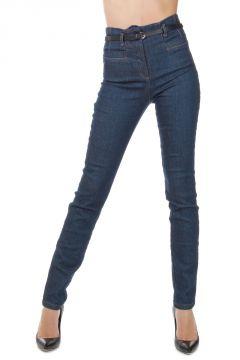 Jeans in Denim Stretch 13 cm con Cinturino in Pelle